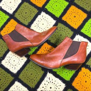 Franco Sarto Leather Almond Toe Chelsea Booties 10